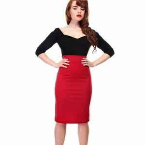 Collectif Mainline Fiona Skirt red